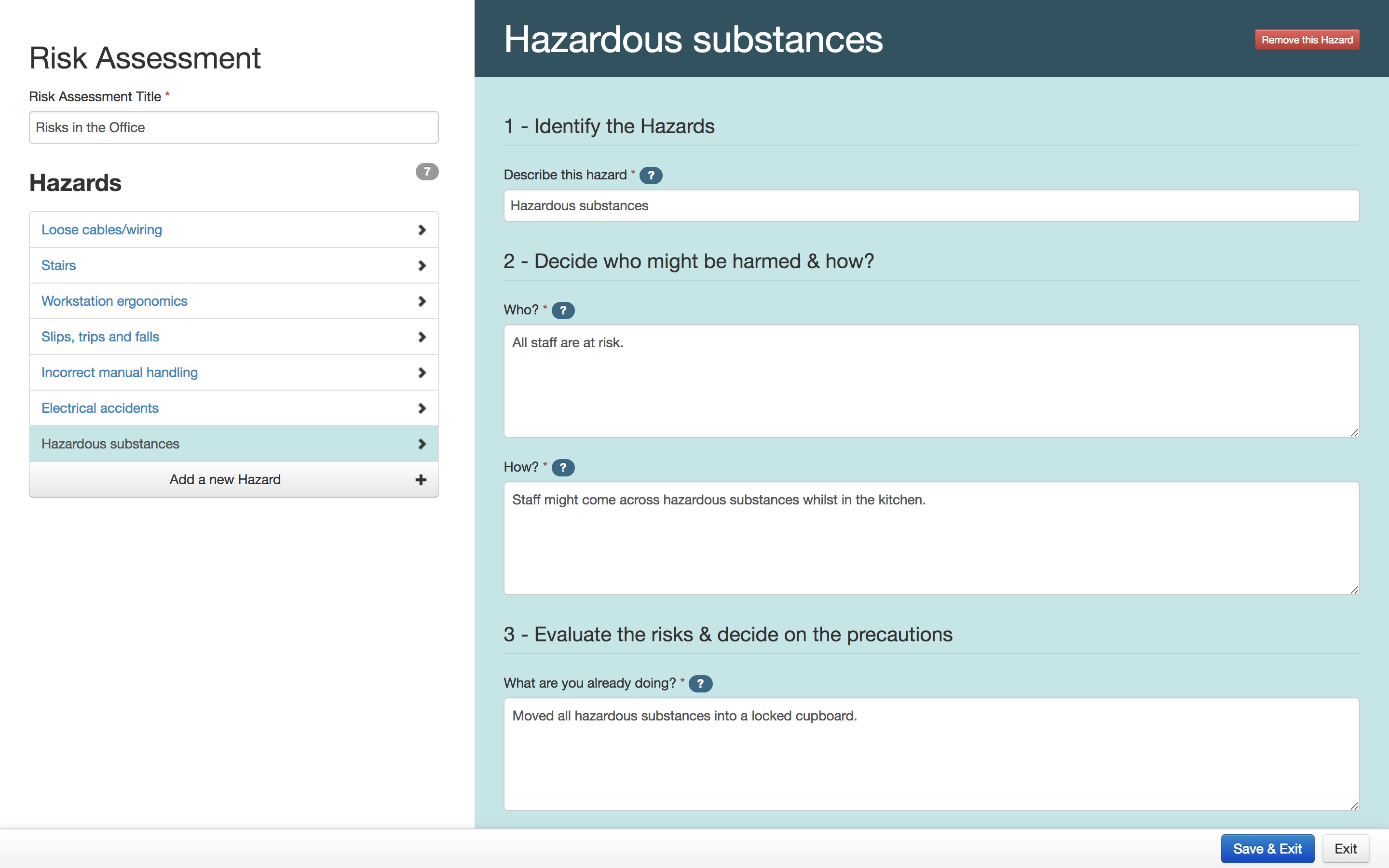An example of a person using the free risk assessment tool for potential warehouse risks